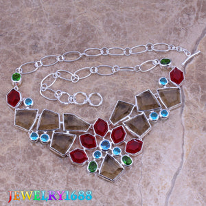 Attractive Multicolor Multigem 925 Sterling Silver Grade Necklace L540