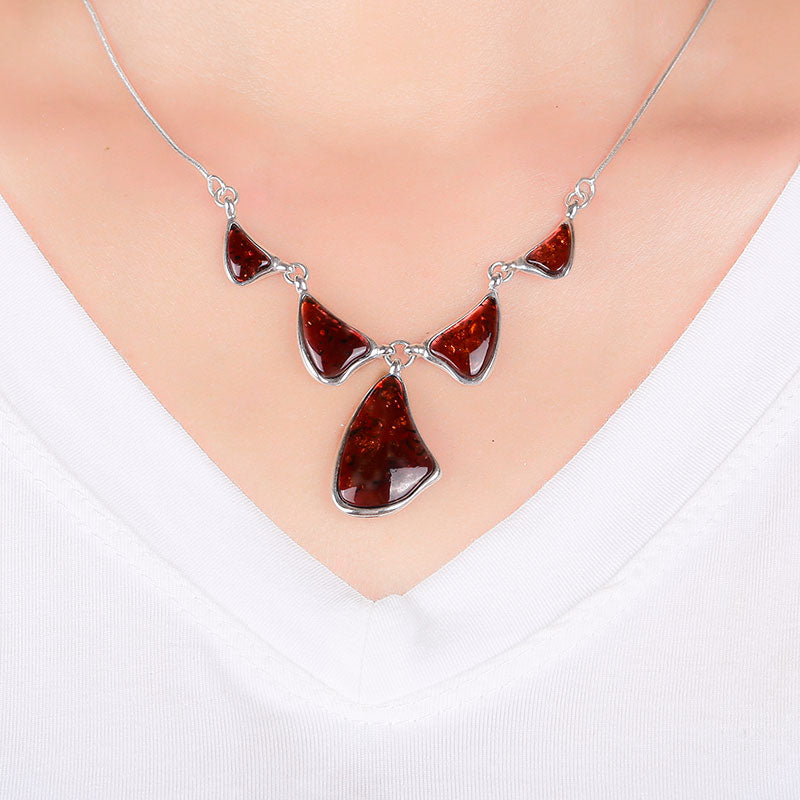Authentic luxury Handmade natural amber and beeswax sisters flower small fresh 925 sterling silver peach pendant necklace
