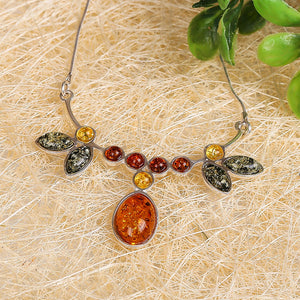 Authentic luxury blood Pean S925 sterling silver set natural Baltic national amber old honey bee candle pendant necklace female