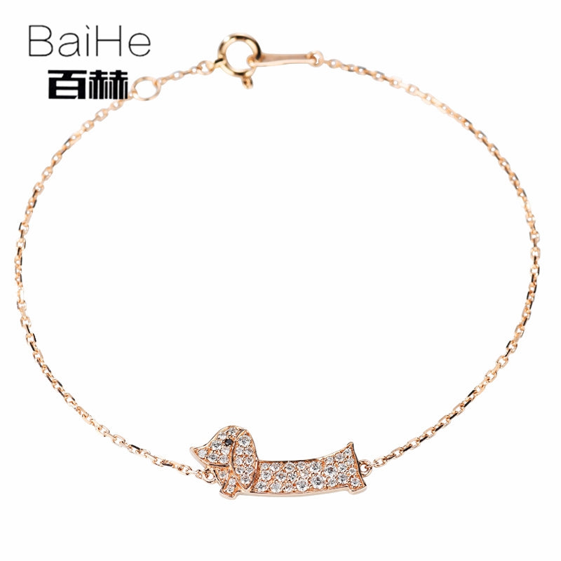 BAIHE Solid 14K Rose Gold 0.24ct Certified H/SI 100% Genuine Natural Diamonds Anniversary Women Classic Fine Jewelry Bracelet