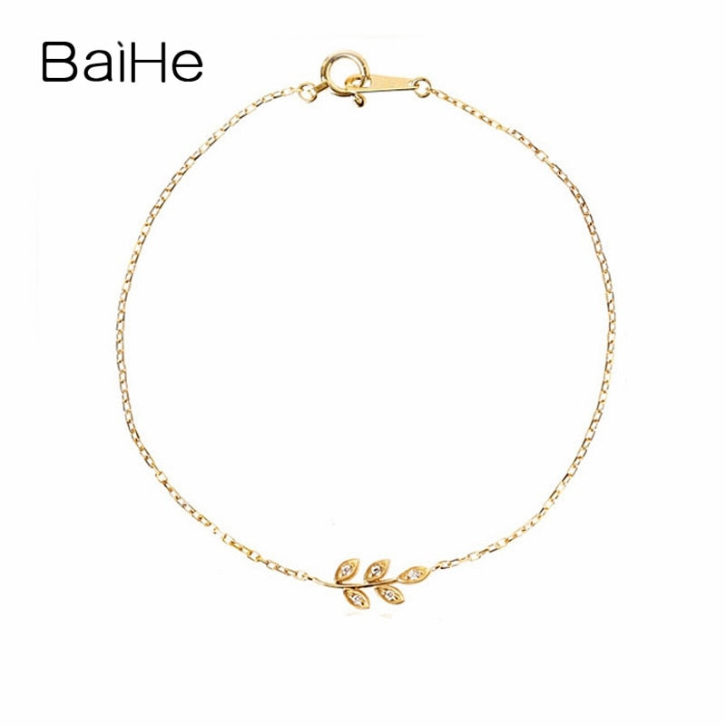 BAIHE Solid 14K Yellow Gold 0.03ct Certified H/SI 100% Genuine Natural Diamonds Wedding Women Trendy Fine Jewelry gift Bracelet