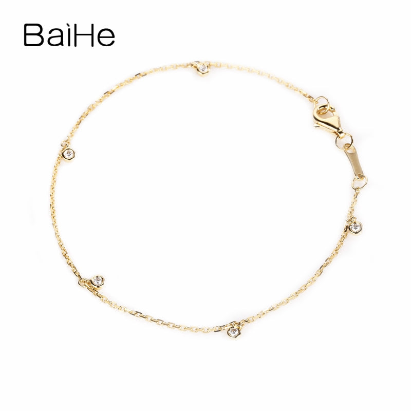 BAIHE Solid 18K Yellow Gold(AU750) 0.10CT F-G/SI Round Full CUT 100% Genuine Natural Diamonds Wedding Trendy Jewelry Bracelet