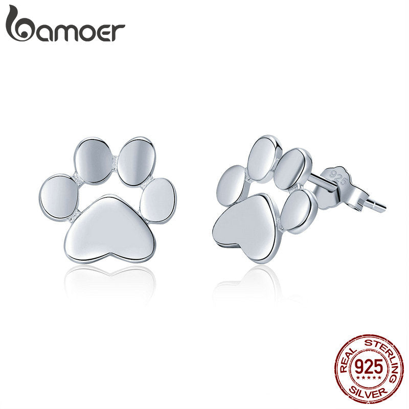 100% 925 Sterling Silver Animal Dog Cat Footprints Stud Earrings for Women Fashion Sterling Silver Jewelry Gift SCE407-2