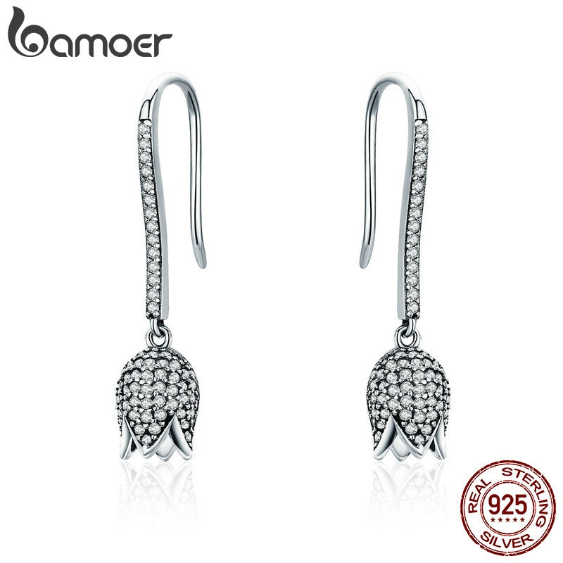 925 Sterling Silver Dazzling CZ Tulip Flower Petal Female Drop Earrings for Women Luxury Earrings Silver Jewelry SCE301