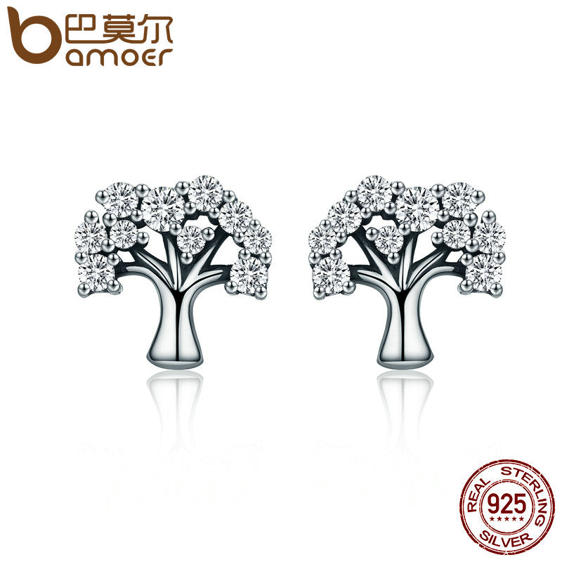 Authentic 100% 925 Sterling Silver Tree of Life ,Clear CZ Stud Earrings for Women Sterling Silver Jewelry Brincos SCE068