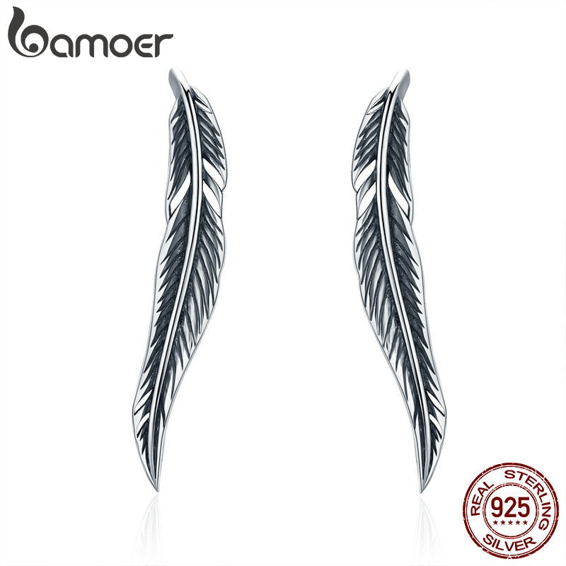 Authentic 925 Sterling Silver Vintage Feather Wings Cuff Drop Earrings for Women Sterling Silver Earrings Jewelry SCE258