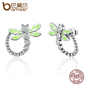 Real 925 Sterling Silver Vivid Green Dragonfly Animal Drop Earrings For Women Fashion Anniversary Jewelry SCE018