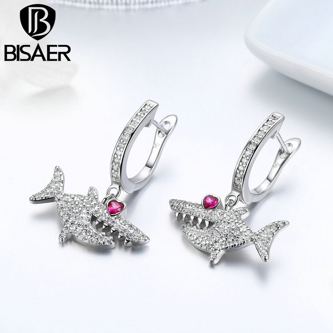 BISAER Silver Color Stud Earrings WEYE116