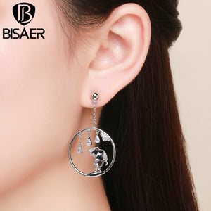 BISAER Silver Color Stud Earrings WEYE120
