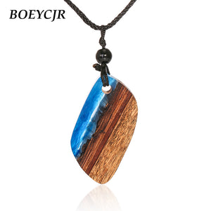 Wood & Resin Necklace Ethnic Jewelry Vintage Retro Design Handmade Blue Resin Necklace For Women or Men Gift 2018