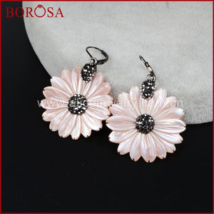 Chrysanthemum Flower Shape Drop Earring for Women, Rhinestone Pave Bead Shell Daisy Dangle Earrings JAB523