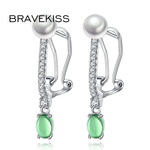 Water Drop Earrings For Women Green Rhinestone Pearl CZ Pierceing Dangle Earrings Brincos Fashion Jewelry BUE0334