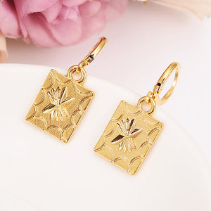 Gold Color square Earrings geometrical Women/Girl,Love Trendy Jewelry for African/Arab/Middle Eastern party jewelry gift