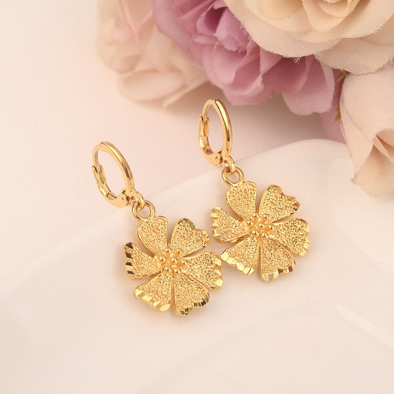 flower Earrings for Women/Girls Gold Color cute Earing Jewelry Gifts African,Indonesia,Nigeria,Congo,Arab Earring gift