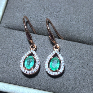 Beautiful Emerald Earrings Solid 925 Sterling Silver 2018 Jewelry For Women
