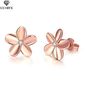 Beautiful flower shape rose gold color stud earrings for women chic exquisite jewelry accessories girls' gift CCNE0218