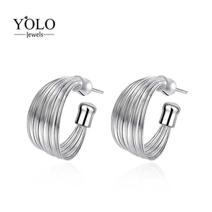 Big Circle Trendy Stud Earrings for Women Silver Color Earring Round Shape Earrings Love Gift for Girlfriend Party Earrings