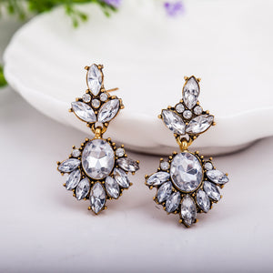 Big Crystal Flower Drop Earring For Women Gold Color Statement Charm Rhinestones Dangle Earrings Accessories Ear Jewelry Eardrop