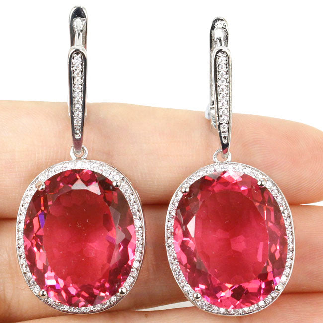 Big Gems 22x18mm Pink Sapphire Cz Woman's Christmas Present 925 Silver Earrings 40x20mm