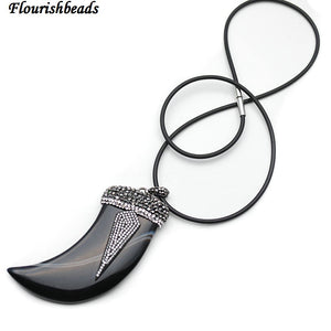 Big Size Natural Black Onyx Agate Horn Pendant Paved CZ Metal Arrow Charm Rubber Chain Necklace Fashion Woman Jewelry