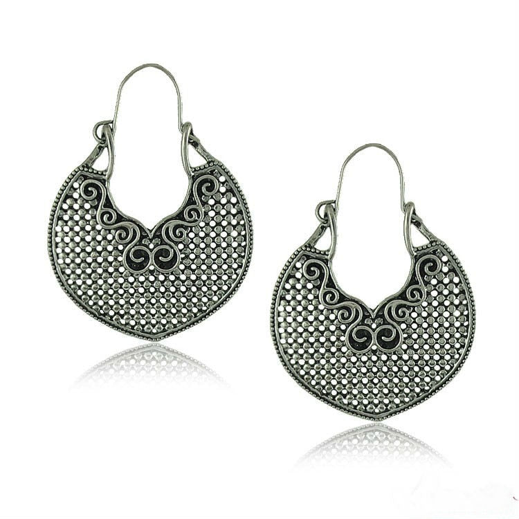 Big Vintage Heart Drop Earrings For Women Fashion Ethnic Jewelry Antique Silver Plated Tribal Hollow Out Statement Pendientes
