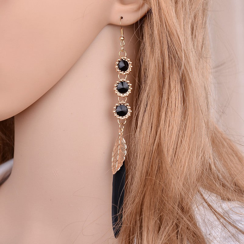 Black Crystal Earrings for Women Long Feather Drop Earrings Boho Statement Leave Dangles Earrings Bridal Jewelry