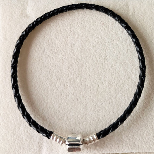 Black leather bracelet without charms fit brand European charms DIY with 925 sterling silver clasp fine jewelry wholesale PL001