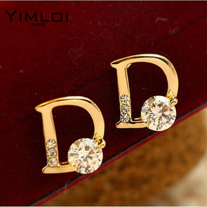 Bling Beauty New !!! Super Fashion Fine Jewelry Sparkling Gold Color Letter D Individuality Stud Earrings For Women E270
