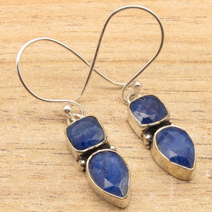 Blue sappfire Earrings ! Silver Plated Over Solid Copper Jewelry