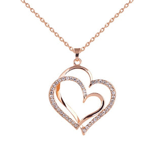 Women's Romantic Double Love Heart Rhinestone Choker Chain Necklace Jewelry Gift