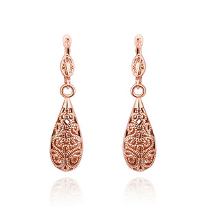 Bohemian Long Water Drop Dangle Earrings For Women 585 Rose Gold Color Jewelry Vintage Aros Accessories Boucle d'Oreille QA0455