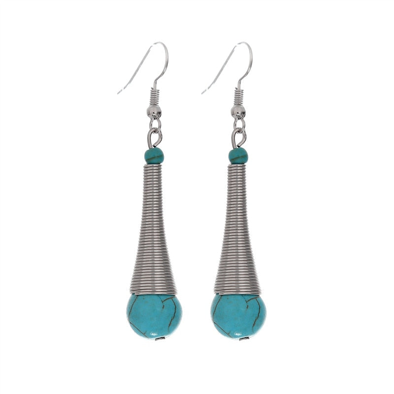 Bohemian Retro Ethnic Long Earrings Fashion Jewelry Tibetan Sliver Color Microphone Shaped Stone Dangle Earrings For Women