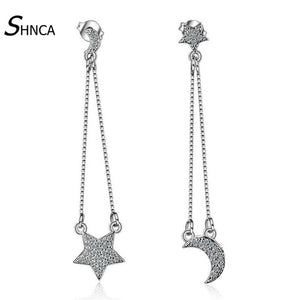 Boutique 925 Sterling-Silver-Jewelry Asymmetric Star Moon Cubic Zirconia Long Tassel Stud Earrings For Women Brinco E013