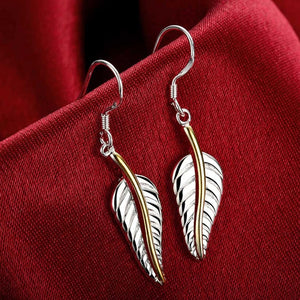 Brand 925 Sterling Silver Leaves Leaf Big Drop Earrings For Women Fashion Lady Prevent Allergy Jewelry