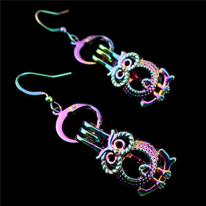 C-E722 Rainbow Drop Earrings Cute Owl Earrings Cage Oyster Pearl Dangle Hook Earrings for Girl Women DIY Jewelry