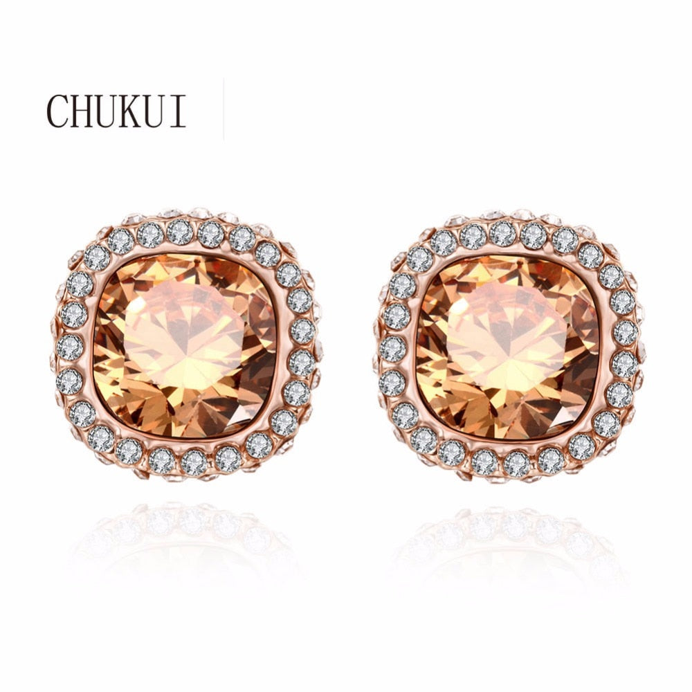 Square Crystal Earrings Stud Rose Gold Geometric Square Kolczyki Earinings for Girls Korean Style