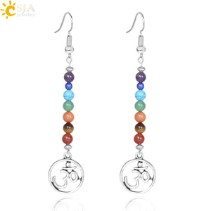 CSJA Vintage 7 Chakra 3D Long Fringed Statement Drop Earrings for Women Natural Stones Round Beads Reiki Healing Jewelry E708