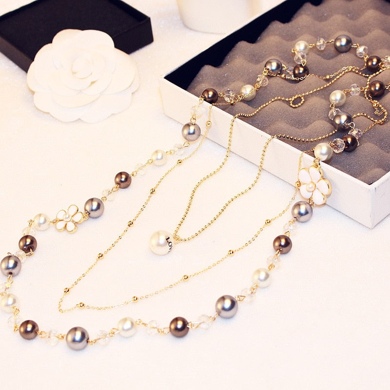 Brand Long Pearl Camellia Flower Pendant Necklace For Women High Qulaity Gold Chain Double Layers Fashion Necklace