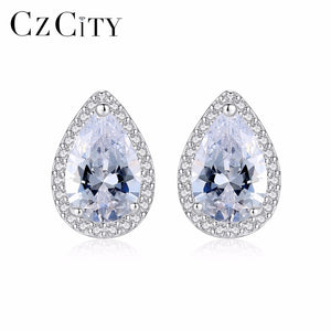 Brand S925 Sterling Silver White/ Yellow Zircon Main Stone Wedding Stud Earrings for Women Girl Fine Engagement Jewelry