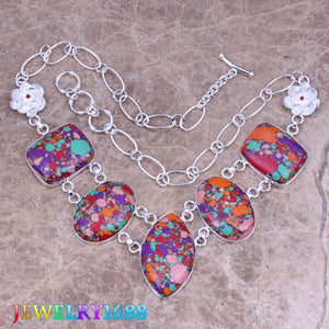 Captivating Multicolor Natural Stone 925 Sterling Silver Grade Necklace L624