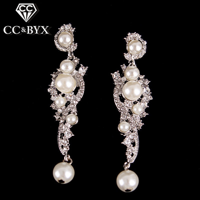 Chandelier Simulated Pearl Fashion Earring Jewelry Bijoux Austrian Crystal Long Earrings for Women Wedding Party Engagement B007