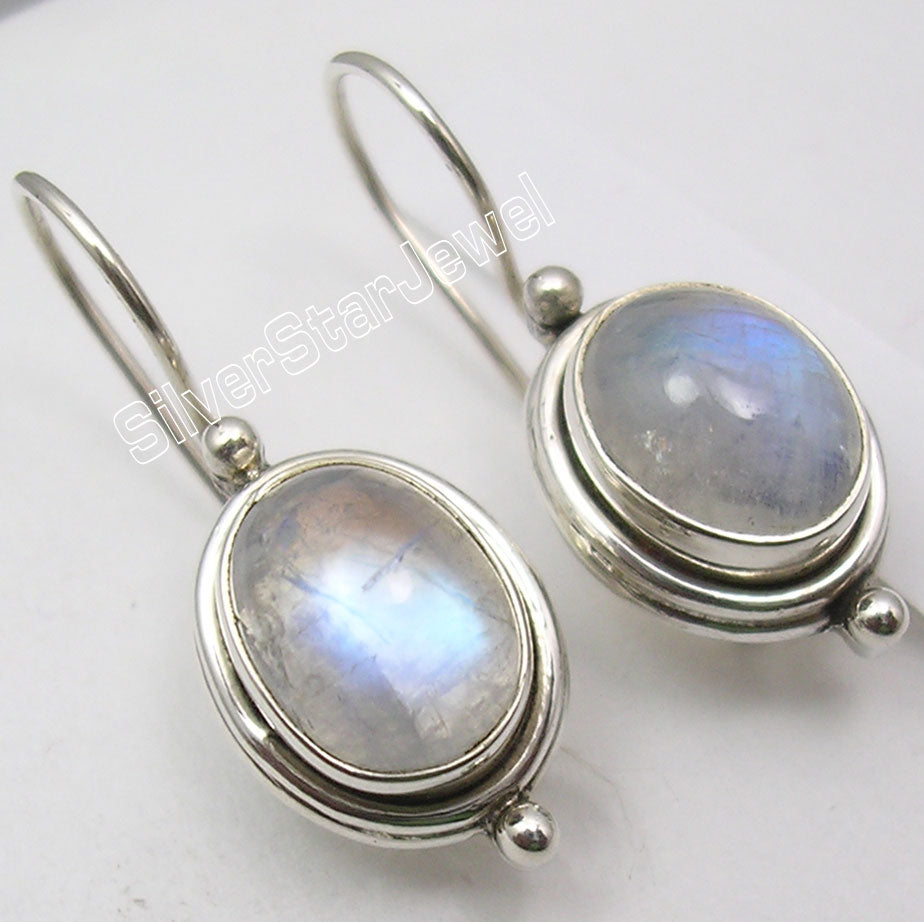 Silver BLUE FIRE RAINBOW MOONSTONE Beautiful Earrings 2.5CM NEW