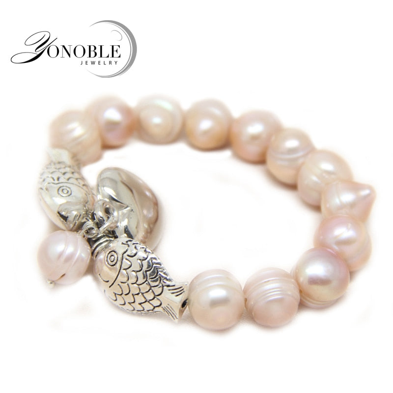 Charm baroque pearl bracelets for women,white purple trendy real natural pearl bracelet jewelry girlfriend birthday