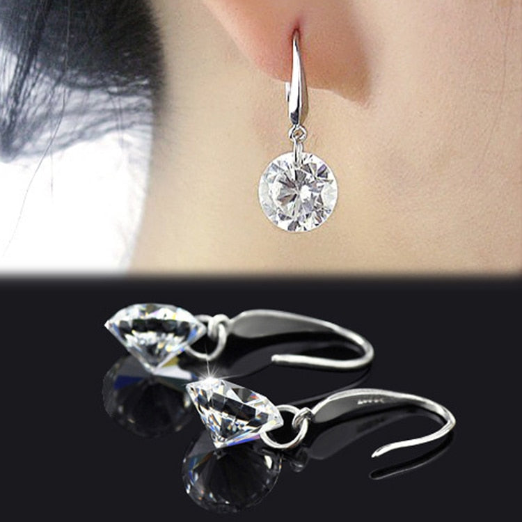 Chic Women Silver Plated Ear Hook Chandelier Crystal Dangle Earring Gift Drop Shipping can dropshiping