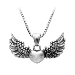 Christmas Gift Pendant Necklaces,rhodium Plated Necklace,angel Heart Wings Necklace