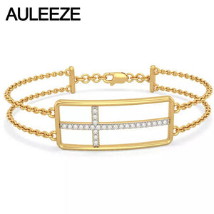 Classic Natural Real Diamond Cross Bracelets For Women Solid Solid 14K Yellow Gold Engagement Bracelets Diamond Fine Jewelry