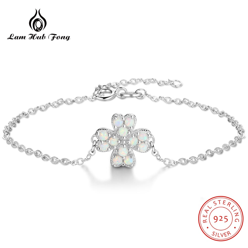 Clover Bracelet White Opal Lucky Four Leaf Clover Charm Bracelet for Women 925 Sterling Silver Jewelry Original Fine Jewelry