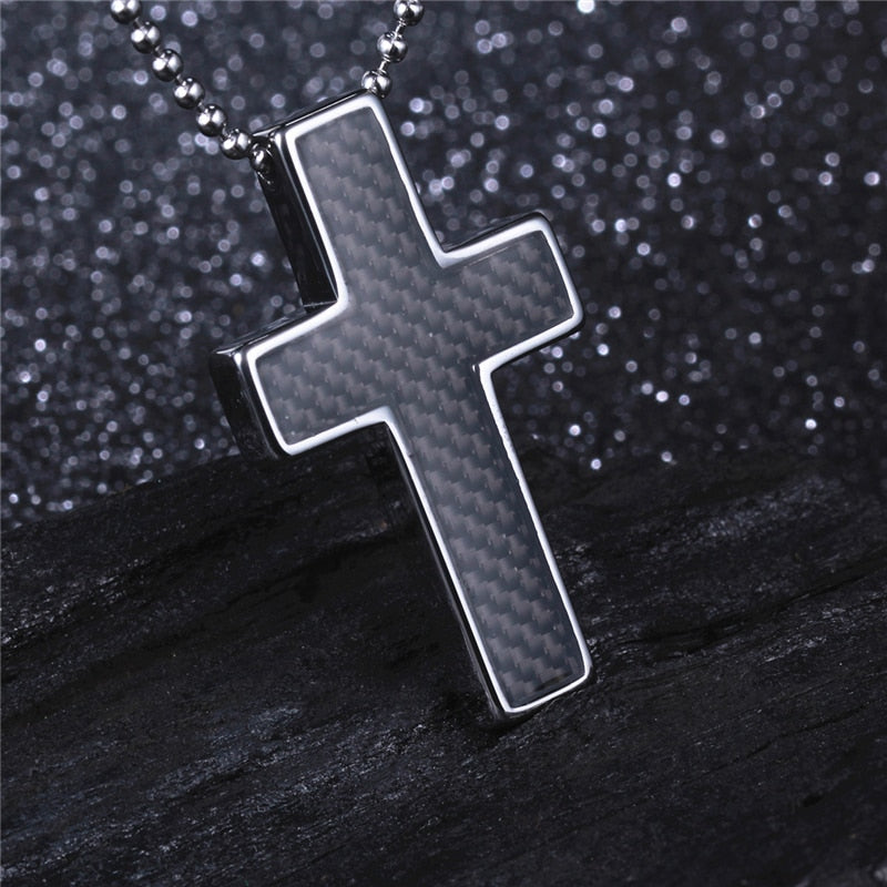 Co Summer Style for Locomotive Man Black Tungsten Cross Necklace Pendant with Carbon Fiber Free Stainless Steel Ball Chain
