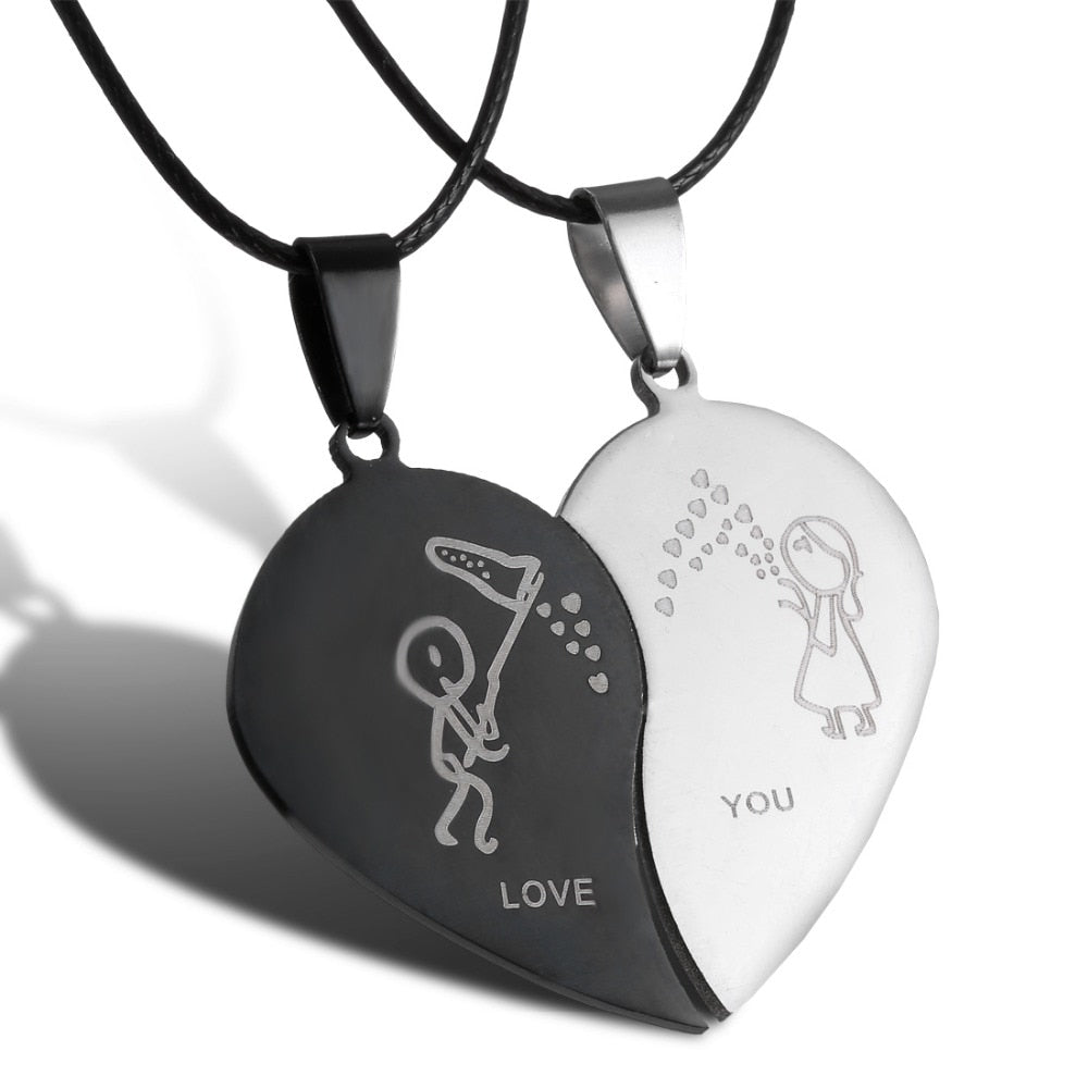 Couples Jewelry Broken Heart Necklaces Black Couple Necklace Stainless Steel Engrave Love You Pendants Necklace