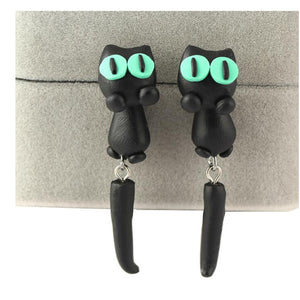 Creative Accessories Handmade Soft ceramic Black Cat Earrings for Women Seperate Stud Earring Gifts E1659